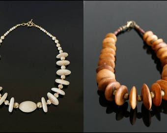 CLEARANCE SALE!! 2 x Bone Necklaces , Beaded Necklace, Boho Necklace