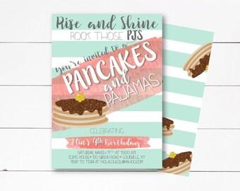 Pancakes and Pajamas Invitation, Pancake Party, Pancakes and Pajamas Birthday, Pancake Party Invitation, Girl Birthday Invite, DIY/Printed