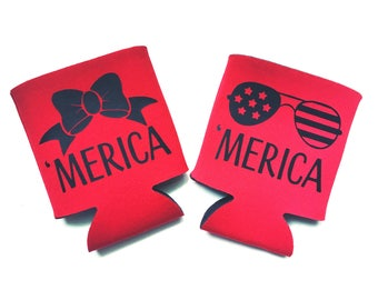 Merica Can Cooler / Holder - Sunglasses or Bow - Summer Weather Necessity