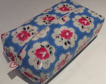 Zipped Baby Wipes cover handmade in Cath Kidstons Provence Rose Blue Oilcloth