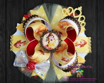 Princess Belle inspired by Disney's Beauty and the Beast large deluxe boutique bow ready to ship