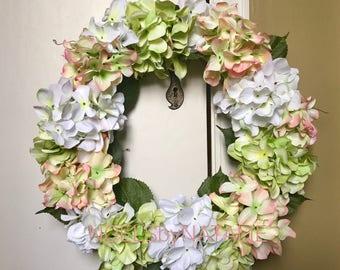 SALE!! White, Coral, and Green Hydrangea Wreath