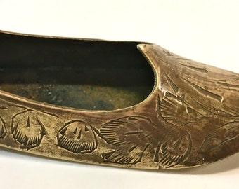 Vintage Brass Shoe Slipper Tiny Ashtray Collectible Tobacciana Personal Ashtray