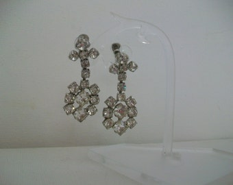 SALE c 1940s Quality Rhinestone Drop Diamante Earrings, Screw Fittings