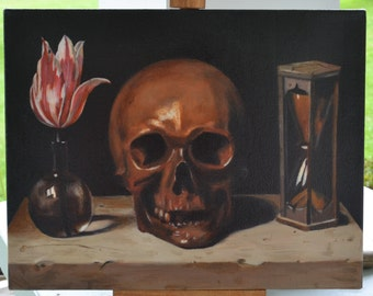 Vanitas Still Life with Hourglass, Skull, and Tulip.