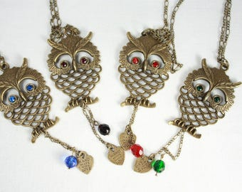Long Chain Owls Necklace in Bronze