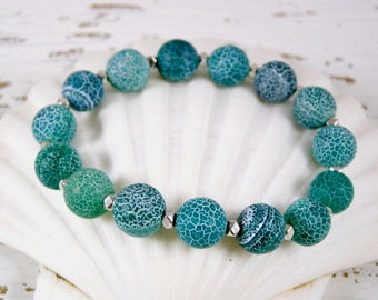 Chunky Blue Bracelet, Chunky Beaded Bracelet, Agate Gemstone Bracelet, Gemstone Stretch Bracelet, Casual Stretch Bracelet, Green Bead Br