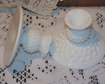 2 Candlestick Candle Holders Fenton White Milk Glass Hobnail Home Decor Vintage Collectibles
