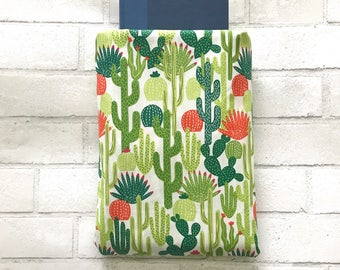 Book Sleeve | Cactus Print | Book Pocket Protector Pouch | Book Lover Christmas Gift Paperback Hardback Cover Bookworm