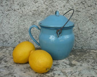 French enamel blue pot with lid and handle