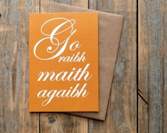 Go Raibh Maith Agaibh card, as Gaeilge thank you card, orange, Irish language - Gaelic thank you card