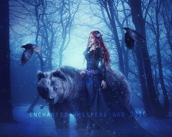 fantasy woman with bear winter scene print