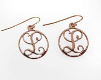 "1 initial Monogram earrings. Gold monogram earrings. 0.6"" monogram earrings. Personalized earrings. Monogram jewelry. Personalize earring"