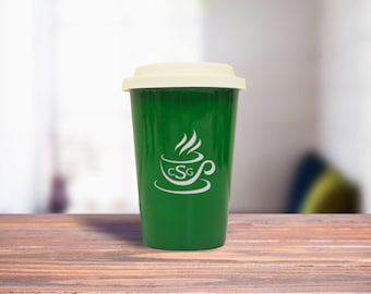 Green Ceramic Latte Travel Mug, Personalized Office Gift Mug