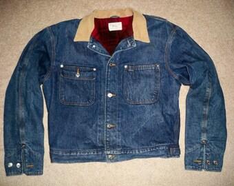 Vintage Polo Ralph Lauren Denim Work Chore Men's Jacket Coat W/ Blanket Lining Size Large Made in USA