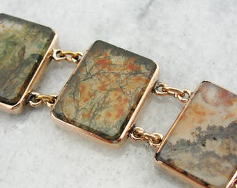 Antique Rose Gold and Moss Agate Link Bracelet A33JAD-R
