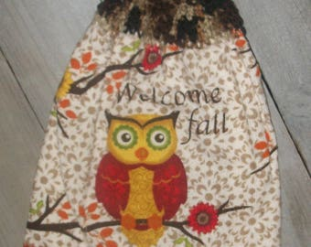 Crochet Top Hanging Kitchen Fridge Oven Printed Dishtowel Owl Sitting on a Branch Welcome Fall Flowers*No Button/Button* Handmade by HCF&D