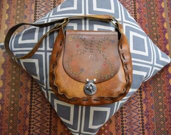 Vintage Hippie Tooled Folk Festival Satchel Purse Hand Bag leather Saddle Bag m s  70s 60s  ethnic woodstock