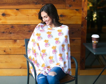 Pineapple Flower Nursing Poncho Doubles as a Carseat Cover/ Full Coverage Nursing Cover