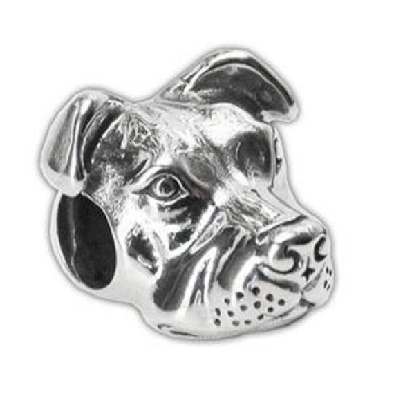peaceful pit bull charm for european style bracelet sterling