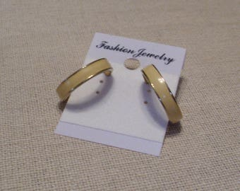 Earrings, Ivory Enamel On Gold Tone Hoop With Spring Back, Vintage From 1980's, Monet