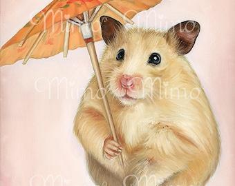 Hamster art print. Hamster archival paper print. Hamster nursery art.  Kids bedroom decor. Hamster decor. Rat print. Hamster with umbrella.