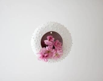 Modern spiky ceramic wall planter/ hanging flower pot/ succulent planter/ handmade pot/ white/ wall planter/ air planter