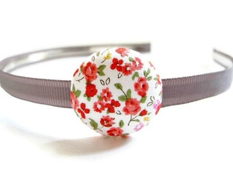 Flower Headband/ Gray Headband/ Girl Headband/ Gray And Red Headband/ Red Flower Headband/ Fabric Headband/ Toddler Headband