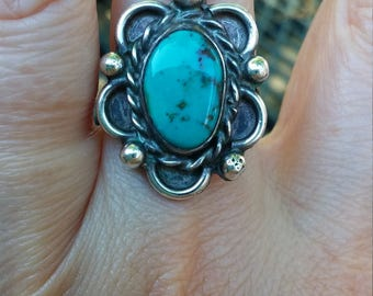 Beautiful Turquoise Sterling Silver Ring size 6.5