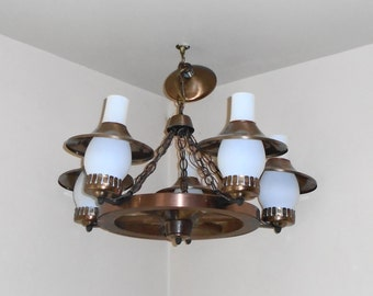 Captivating Vintage Progress Lighting Wagon Wheel Metal Accent Hurricane 5 Arm Light  Fixture
