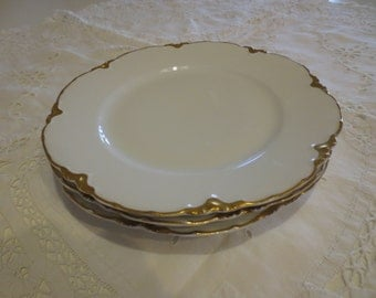 3 Haviland Limoges Luncheon Plates White w/Gold Rim