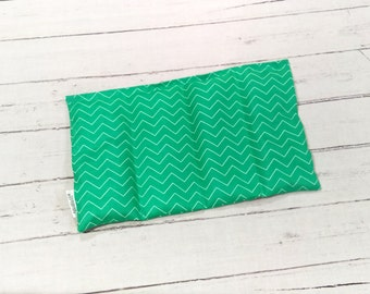 Small Green Rice Heating Pad, Microwave Heating Pad, Aromatherapy Herbal Pack, Green Chevron Heat Pad