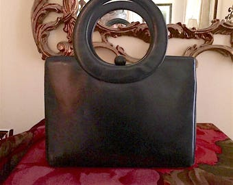 Vintage Holzman Black Leather Purse, Mid Century Woman's Black Handbag, Holzman Black Pocketbook, 3 Compartments
