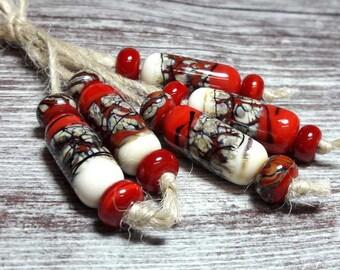 Lampwork beads handmade Beads supplies jewelry Beads for jewelry making Murano beads Set beads Beads SRA Beads bright red, ivory, black.
