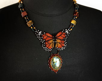 Statement necklace with bead embroidered butterfly and gemstones  - OOAK handmade necklace with labradorite and tiger's eye beads