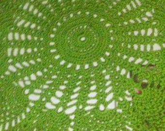 Large 5 Feet Crochet Doily Rug Dark Lime Green with Ivory scallop edge