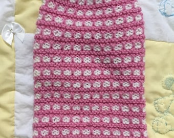 Pink and white pet sweater