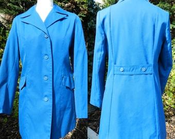 70's polycotton royal / petrol blue jacket blazer pockets tailored u.k. 12 - 14 M