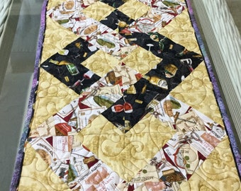 """Table runner, Quilted table runner 46"""" x15"""", Hostess gift, Quilted table topper, Gift for new home, Quilted table decor, Coffee table runner"""