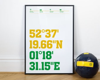 Norwich City Football Stadium Coordinates Posters