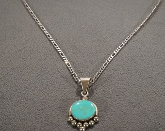 Vintage Sterling Silver Pendant Charm Necklace Chain Large Round Turquoise Southwestern Style      #1102