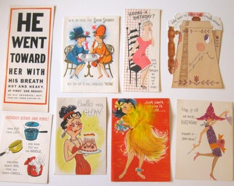 Lot of 8 Vintage Birthday Cards, 1950's to 1960's