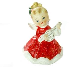 Angel Figurine with Mandolin, Vintage Lefton 7074, Vintage Christmas Decor, Retro