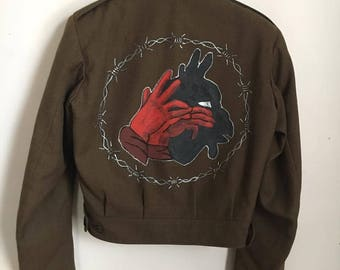 Hand-painted Devil Shadow Puppet Vintage Military Jacket