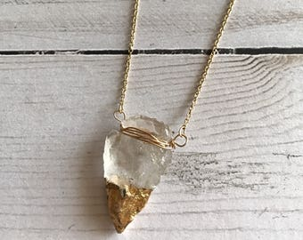 Gold dipped crystal arrowhead necklace