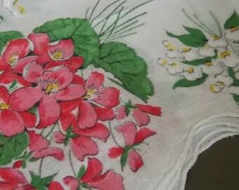 Ladies' Hankies Set of 8 Floral Patterned Vintage Ladies' Handerkerchiefs from the 1950's