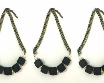 Geometric beaded necklace, black beads necklace, hexagon beads necklace, brass chain necklace, antique brass necklace.