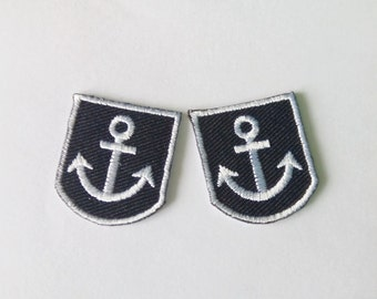 Set of 2 Small Black/White Embroidered Anchor Iron on Patch