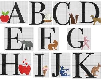 a machine  embroidery design alphabet