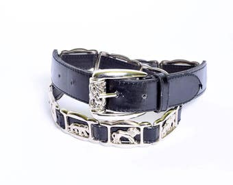 Vintage Faux Leather South Belt with Silver Buckle with Lions and Elephants Design